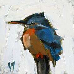 Kingfisher no. 7 bird open edition print by angela moulton 5 x 5 inches prattcreekart on Etsy, $8.00