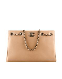 Large shopping bag, metallic grained calfskin-beige - CHANEL  Loving nudes this spring!