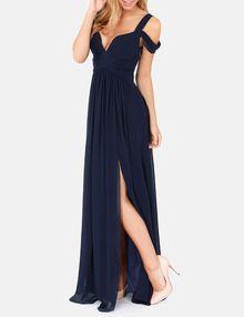 Navy Off The Shoulder Maxi Dress - Sheinside.com