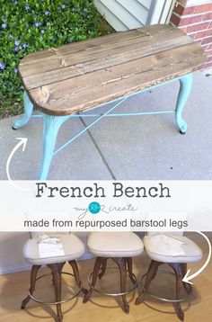 DIY: French Bench from Repurposed Barstool Legs, full picture tutorial at Refurbished Furniture, Repurposed Furniture, Industrial Furniture, New Furniture, Furniture Projects, Rustic Furniture, Furniture Makeover, Painted Furniture, Outdoor Furniture Sets