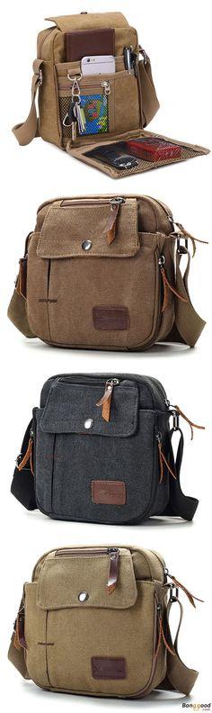 US$19.99 + Free shipping. Men Bag, Vintage Bag, Tool Bag, Casual Style, Canvas Bag, Messenger Bag, Shoulder Bag. Material: Canvas. Color: Black, Brown, Khaki. Multipocket Design Helps You Organize Everything.
