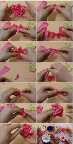 DIY Satin Ribbon Rose Step By Step   UsefulDIY.com