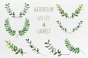 Watercolor set of wreath and laurels ~ Illustrations on Creative Market
