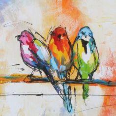Kleurrijk schilderij van 3 dwerg papegaaien op een bonte achtergrond. - Colorful painting of three lovebirds on a colorful background.