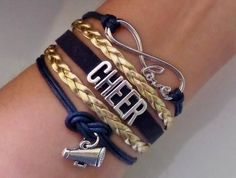Cheer bracelet Cheerleader gift Cheerleading jewelry, Megaphone charm, Cheer squad Gift, Cheer Team, Infinity cheer bracelet, Navy/Gold #ad