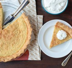 Bourbon Buttermilk Pie-A velvety, custard-like pie with a rich butter flavor and hint of bourbon. This recipe makes a delicious dessert any time of the year for special occasions, parties or birthday celebrations. Great in the fall for the Thanksgiving and Christmas holidays, but an equally sweet treat in the spring and summer months.