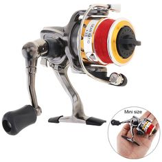 2+1BB Mini 100 Metal Fishing Reel Palm Size Spinning Reel with Fishing Line for Ice Fish Pen Fishing Rod