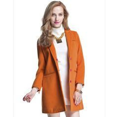 Women New Fashion Winter Slim Woolen Blend Lapel Collar Slim Jacket Overcoat