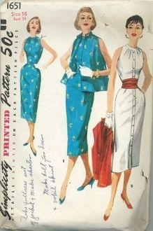 An original ca. 1950's Simplicity Pattern 1651.  This sleeveless sheath, with a high neckline, features a pleat at the lower edge of center back for walking ease. The jacket is sleeveless as well with a mandarin collar. The dress has a pinched waist which can be worn with or without the cummerbund.