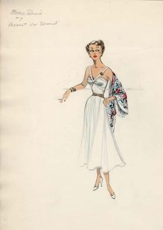 """Edith Head design for Bette Davis in """"Payment On Demand."""""""
