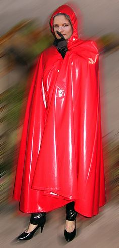 Red Rubber Hooded Cape