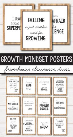 Modernes Bauernhaus Klassenzimmer Dekor Wachstum Mindset Poster These growth mindset posters for kids and teachers will look great in your rustic or farmhouse themed classroom decor. They will help you add a little something to your lessons for preschool, Middle School Classroom, Classroom Posters, Classroom Door, Classroom Setup, Classroom Design, Future Classroom, Classroom Organization, Classroom Management, Middle School Quotes