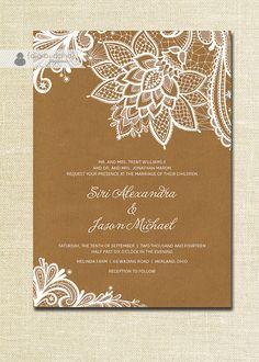 Lace Wedding Invitation Kraft Shabby Chic Rustic Wedding Invitation White Ivory Cream Brown Doily Craft DIY Digital or Printed - Siri Style