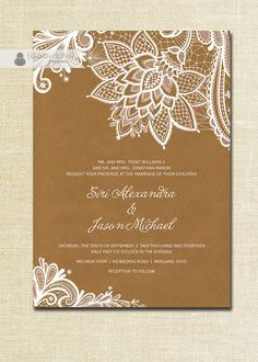 Lace Wedding Invitation Kraft Shabby Chic by digibuddhaPaperie, $36.00