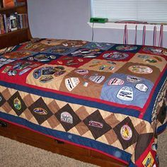 Quilt made from boy scout's collection of over 100 badges. Back is regulation scout material. Tiger Scouts, Cub Scouts, Boy Scout Patches, Arrow Of Lights, Harry Potter Games, Scout Mom, Scout Badges, Eagle Scout, Custom Quilts