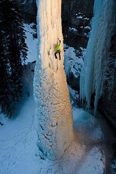 Brave enough to climb a frozen waterfall? #Climbing #Outdoors