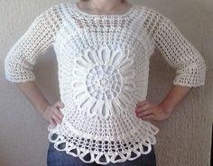 Resultado de imagem para croches lindos e faceis de fazer Crochet Blouse, Crochet Top, Lace, Sweaters, Tops, Women, Fashion, Activities, Moda