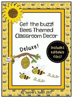 Buzzy Bees!  Bee Themed Deluxe Classroom Decor Set Plus Editable Files. #Room Theme