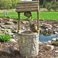 Outdoor ranch farm western wishing well water fountain for garden yard decor waterfall oasis patio lawn