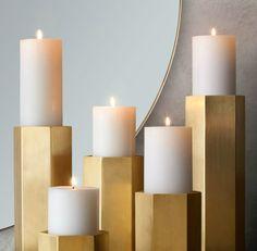 Brass hexagonal candle holders from RH Modern - Decoist Homemade Candle Holders, Modern Candle Holders, Pillar Candle Holders, Candle Sconces, Pillar Candles, Floor Candle Holders Tall, Kirchen Design, Geometric Candle Holder, Modern Candles
