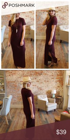 "Eggplant crew neck maxi dress Modeling size small, side slit on one side, thick  ribbed knit 95% polyester 5% spandex. Bust laying flat: S 18"" M 19"" L 20"", Length S 56"" M 57"" L 58"". Add to bundle to save when purchasing. HA7800309 Dresses Maxi"