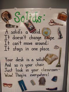 Mrs. Terhune's First Grade Site!: Matter. Anchor chart examples for solids, liquids, and gases