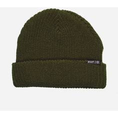 2073dab21a2 Huf Usual Beanie Hat - Olive (190 DKK) ❤ liked on Polyvore featuring  accessories