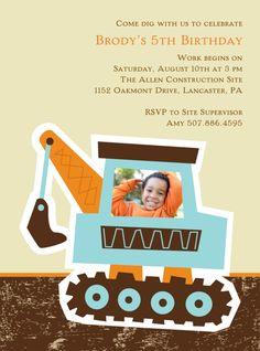 Kid's Birthday Party Invitation -- Big Dig | Pear Tree Greetings