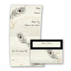 Peacock Flourish - Golden - Seal and Send Wedding Invitation, Economical at Invitations By David's Bridal