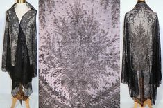 Antique Victorian Civil War French Black Chantilly Lace Spanish Mantilla Shawl With Floral And Foliage Design And Scalloped Border Edging Jacket Dress, Dress Up, Chantilly Lace, Vintage Outfits, Vintage Clothing, Vintage Accessories, Well Dressed, Vintage Inspired, Shawl