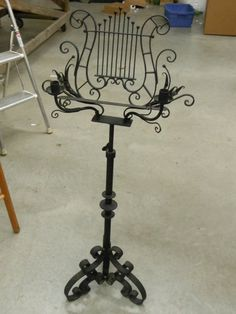 Antique Sheet Music Stand | Vintage Wrought Iron Sheet Music Stand Candle Lite