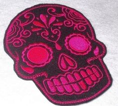 Day of the Dead Sugar Skull EMBROIDERED patch by lizmiera, $5.25
