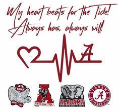 My heart beats for the Tide! Alabama Crimson Tide, Roll Tide Alabama, Crimson Tide Football, Lsu Alabama, Alabama Logo, Oklahoma Sooners, Alabama Football Shirts, College Football, Football Quilt