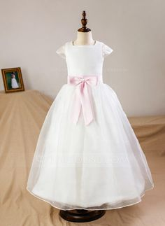 [US$ 49.99] Ball Gown Floor-length Flower Girl Dress - Organza/Satin Short Sleeves Square Neckline With Sash/Bow(s) (Petticoat NOT included) (010094065)
