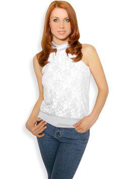 Abbigliamento da Donna  http://www.abbigliamentodadonna.it/maglietta-pizzo-p-427.html Cod.Art.000541 - Maglietta senza maniche con allacciatura al collo ricoperta da raffinato pizzo con ricamo a tema floreale. Ideale sia per una serata o cena importante che per tutti i giorni anche con un look casual jeans.