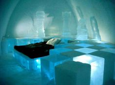 The Ice hotel in Jukkasjarvi, Sweden is made entirely out of ice.