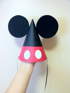 Mickey Mouse party hat. Add a bow and it could be Minnie :)