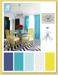 Jonathan Adler. Contemporary teal, blue and yellow color palette. www.stylyze.com