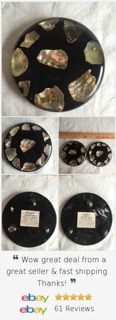 @lern2read Vintage Hot Plate Trivet Lucite Abalone Shells Florida Souvenir Set of 2