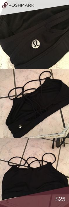 Lululemon Bra - Black, Size 8 THIS IS A RE-POSH. Doesn't fit me - I have a very muscular build and it's just too tight. Tried on once, never worn. No piling or any damage, all black with some mesh in the back. lululemon athletica Intimates & Sleepwear Bras