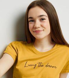 3f2accb69 Girls Mustard Living The Dream Slogan T-Shirt | New Look Slogan Tee, How