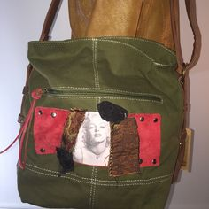 HPMarilyn, Reworked, Crossbody, Messenger Bag New, hunter green, reworked, cross body, canvas messenger bag. 12x12x8! Reworked with red suede leather patch/laces & handsewn Chrisseyo design. Chrisseyo Bags Crossbody Bags