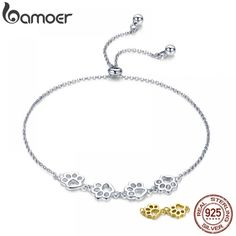 BAMOER New Arrival Genuine 925 Sterling Silver Animal Footprints Chain Bracelets for Women Valentines Day Jewelry Gift Jewelry Gifts, Jewelery, Animal Footprints, Women's Dress Watches, 925 Silver, Sterling Silver, Luxury Watches For Men, Gold Leather, Chain Bracelets