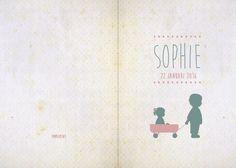 Geboortekaartje Sophie - voorkant en achterkant - Pimpelpluis - https://www.facebook.com/pages/Pimpelpluis/188675421305550?ref=hl (#  meisje - broertje - bolderkar - karretje - hartjes - silhouet - origineel)