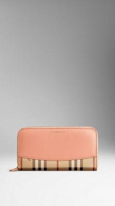 Leather Trim Haymarket Check Ziparound Wallet