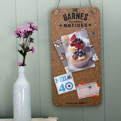 Personalised Cork Noticeboard