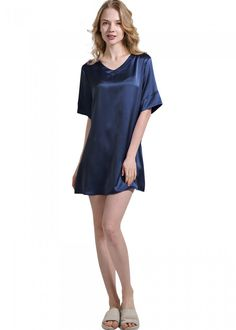 Wide Trim Short Silk Nightgown For Women 44ac5581f