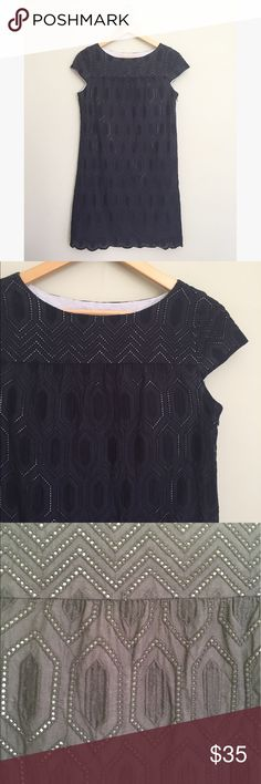 "Ann Taylor Navy Lace Shift Dress Lovely shift dress with embroidered geometric lace detail. Cap sleeves, fully lined, side zip. Cotton, no stretch. Size 2. 33"" long, 36"" bust, 39"" hips. No trades, offers welcome! Ann Taylor Dresses Mini"