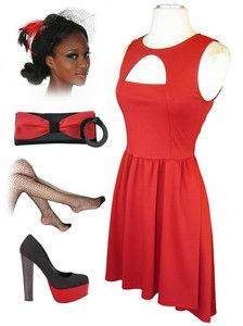 now in stock www.lebombshop.net  RED Cut-Out Bodice HIGH LOW Hem HOLIDAY PINUP Party Dress/Day Dress