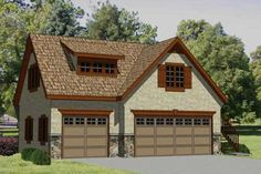 Garage Plan 94342 - 3 Car Garage Apartment Plan with 560 Sq Ft, 1 Bed, 1 Bath Country House Plans, Best House Plans, Dream House Plans, House Floor Plans, Garage Plans With Loft, Garage Loft, Car Garage, Garage Studio, Dream Garage